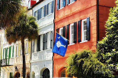 Flag Of Charleston With Palmetto And Crescent Moon Art Print by George Oze