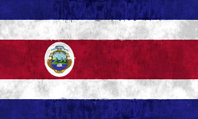 Flag Of Costa Rica Art Print by World Art Prints And Designs