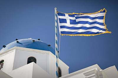 Santorini Photograph - Flag Of Greece by Bjoern Kindler