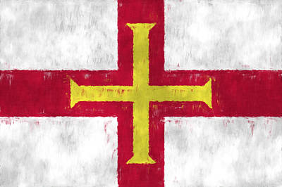Symbolic Patterns Digital Art - Flag Of Guernsey by World Art Prints And Designs