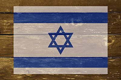 Cabin Wall Digital Art - Israel National Flag On Wood by Movie Poster Prints