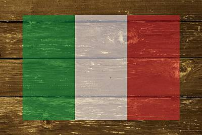 Italy National Flag On Wood Art Print by Movie Poster Prints