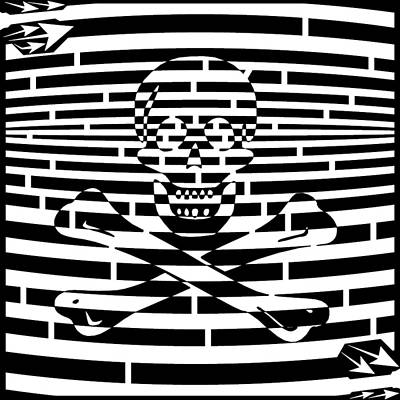 Drawing - Flag Of Jolly Roger Maze by Yonatan Frimer Maze Artist