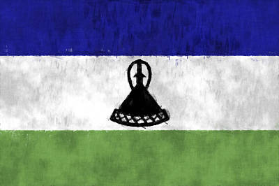 Lesotho Digital Art - Flag Of Lesotho by World Art Prints And Designs
