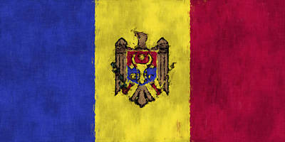 Moldova Digital Art - Flag Of Moldavia by World Art Prints And Designs