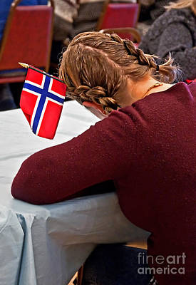 Photograph - Flag Of Norway In Girls' Braided Hair Art Prints by Valerie Garner