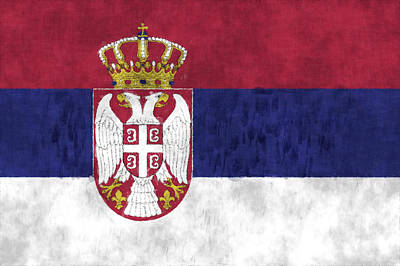 Slavic Digital Art - Flag Of Serbia by World Art Prints And Designs