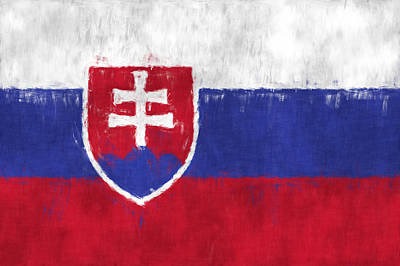 Slavic Digital Art - Flag Of Slovakia by World Art Prints And Designs