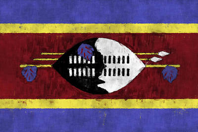 Flag Of Swaziland Art Print by World Art Prints And Designs