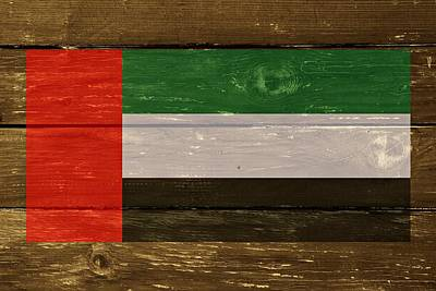 United Arab Emirates Flag On Wood Art Print by Movie Poster Prints