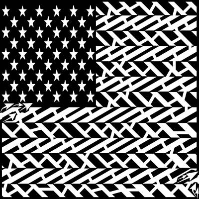 Drawing - Flag Of Usa Maze by Yonatan Frimer Maze Artist
