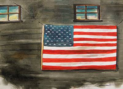 Old Glory Drawing - Flag On Old Siding by John Williams