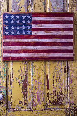 Flag On Old Yellow Door Art Print by Garry Gay