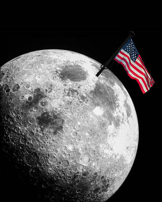 Photograph - Flag On The Moon by Semmick Photo