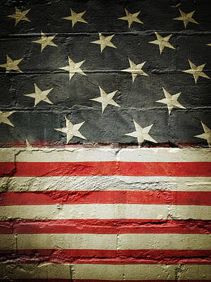 Flag On Wall Art Print by Les Cunliffe