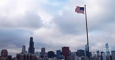 Art Print featuring the photograph Flag Over City by Brigitte Emme