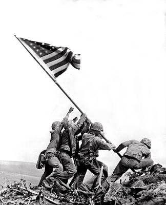 Daytime Photograph - Flag Raising At Iwo Jima by Underwood Archives