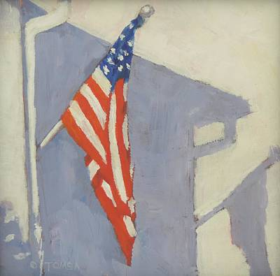 Painting - Flag Shadow - Art By Bill Tomsa by Bill Tomsa