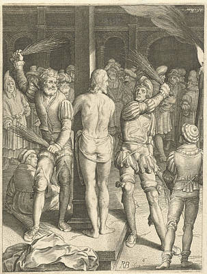 Pole Drawing - Flagellation Of Christ, Nicolaes De Bruyn by Nicolaes De Bruyn