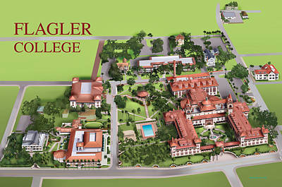 Campus Maps Drawing - Flagler College by Rhett and Sherry  Erb