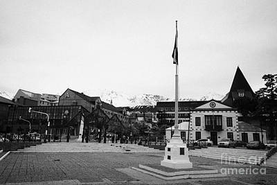 flagpole and waterfront Ushuaia Argentina Art Print by Joe Fox
