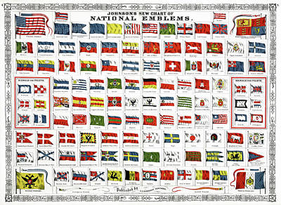 French Man-of-war Painting - Flags, 1868 by Granger