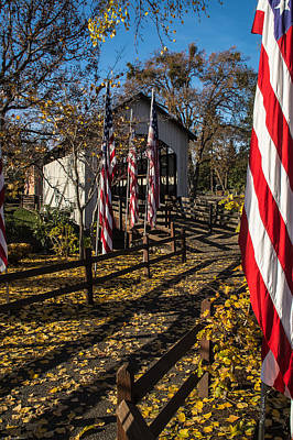 Photograph - Flags And Covered Bridge by Mick Anderson