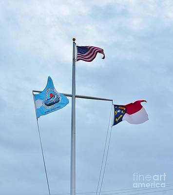 Photograph - Flags At Carolina Beach Nc by Bob Sample
