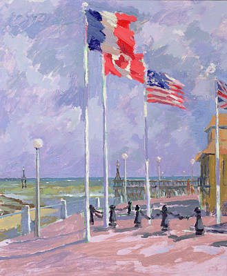 Flags At Courseulles Normandy  Art Print by Sarah Butterfield