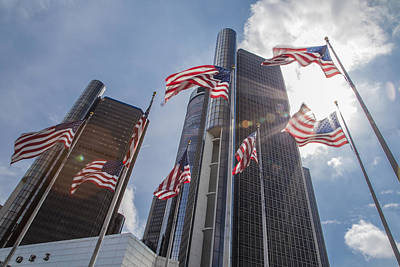 Photograph - Flags At Renaissance Center In Detroit  by John McGraw