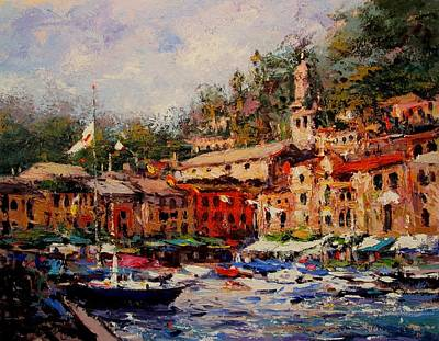 Portofino Italy Painting - Flags Flyin In Portofino by R W Goetting