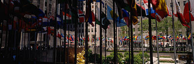 Flags In A Row, Rockefeller Plaza Art Print