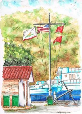 Flags In San Luis Port,  Avila Beach, California Art Print