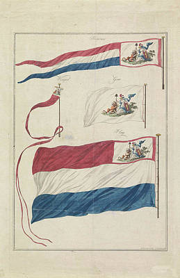 Virgo Drawing - Flags Of The Navy Of The Batavian Republic by Hendrik Roosing