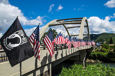 Photograph - Flags On The Rogue River Bridge by Mick Anderson
