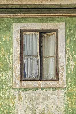 Flaking Wood Window Art Print