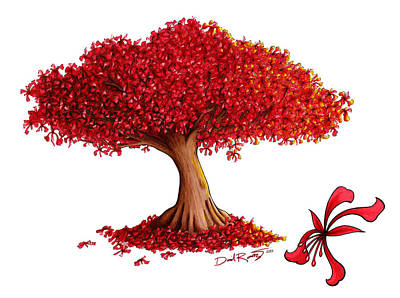 Flamboyan Tree Painting - Flamboyan by Daniel Ramirez