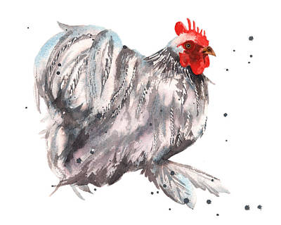 Farmyard Painting - Flamboyant Rooster by Alison Fennell