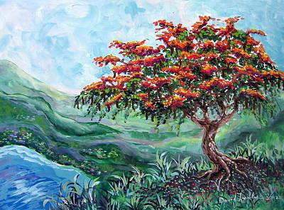 Flamboyant Tree Painting - Flamboyant Tree by David Francke