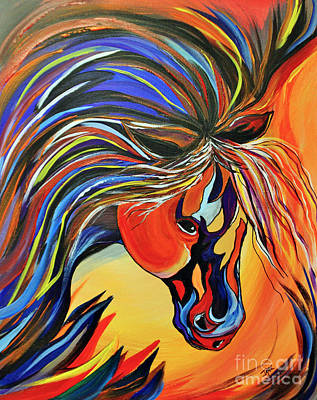Flame Bold And Colorful War Horse Art Print by Janice Rae Pariza