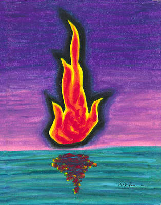 Painting - Flame Reflection On Still Water by Carrie MaKenna