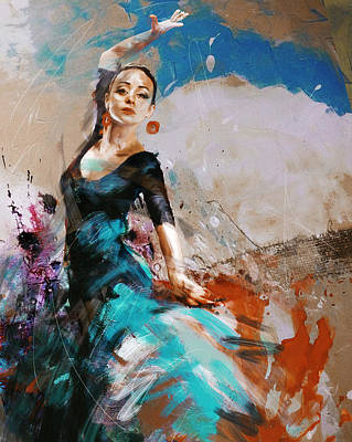 Drapery Painting - Flamenco 42 by Maryam Mughal