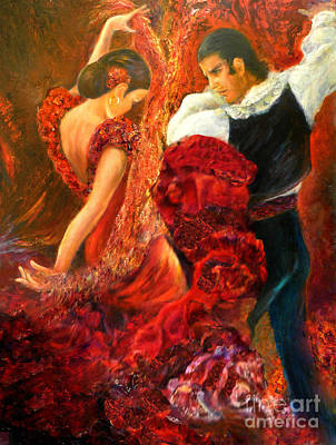 Painting - Flamenco Couple Aa by Sylva Zalmanson