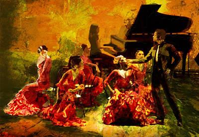 Ballerina Painting - Flamenco Dancer 020 by Catf
