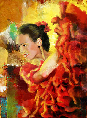 Dancing Girl Painting - Flamenco Dancer 027 by Catf