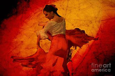 Digital Art - Flamenco Dancer 17 - The Red Dress by Mary Machare