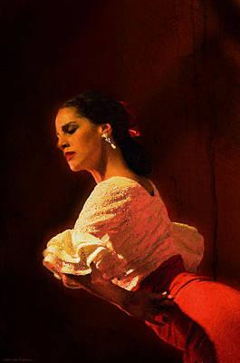 Cartoons Tees - Flamenco Dancer 18 by Mary Machare