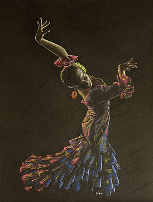 Drawing - Flamenco Dancer In Flowered Dress by Martin Howard