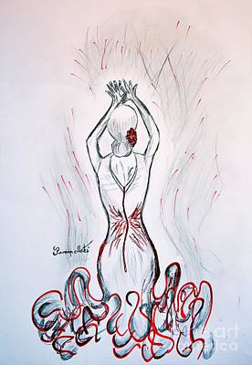 Hands Of Love Drawing - Flamenco Dancer In Red  by Ramona Matei