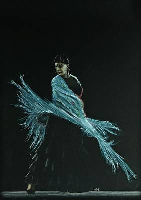 Drawing - Flamenco Dancer In Shawl by Martin Howard
